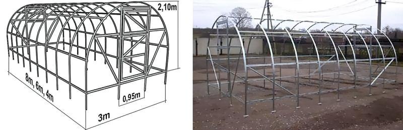 Каркаси теплиць з тонкостінного сталевого профілю
