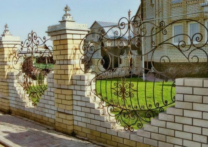 Дизайн парканів з елементами ковки для приватного будинку 6