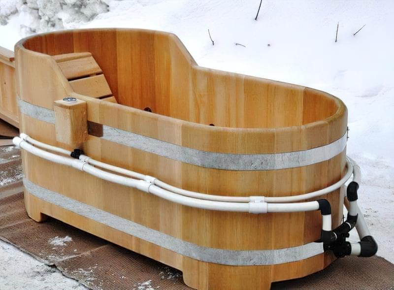 Дерев'яна одномісна купіль-ванна з гідромасажем