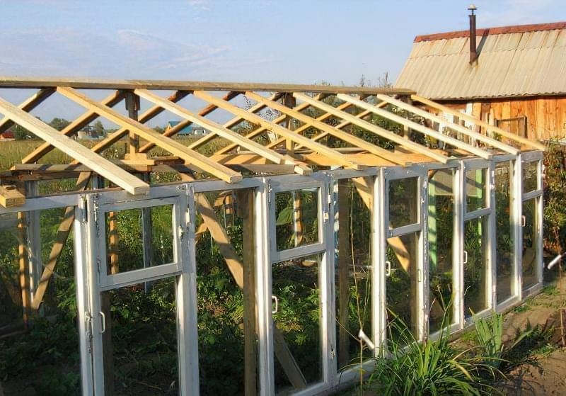 Фото №4 Два десятка старих віконних рам і дах з брусків - ось і все, що потрібно для збірки тепличної конструкції