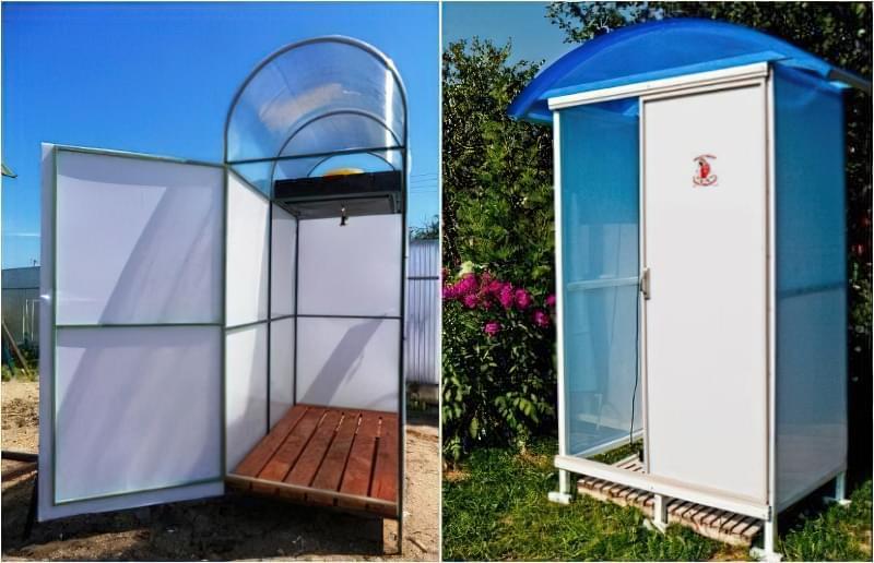 Фото №12-13 Відмінний душ для дачі - профільна труба і стільниковий полікарбонат