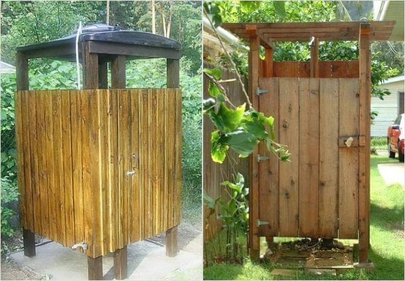 Фото №2-3 Літній душ з кабінкою з бруса і дощок