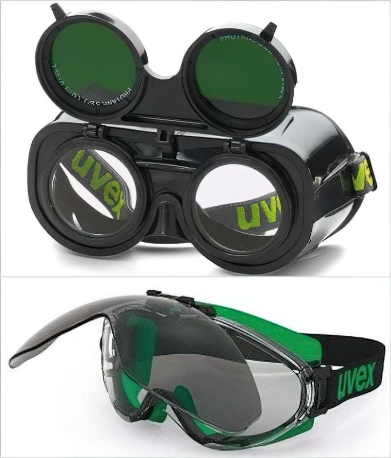 Приклад сучасних окуляр для зварників від Uvex (Аміго і Ультрасоник) з відкидними світлофільтрами.