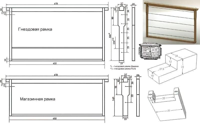 Креслення і розміри рамок для вуликів