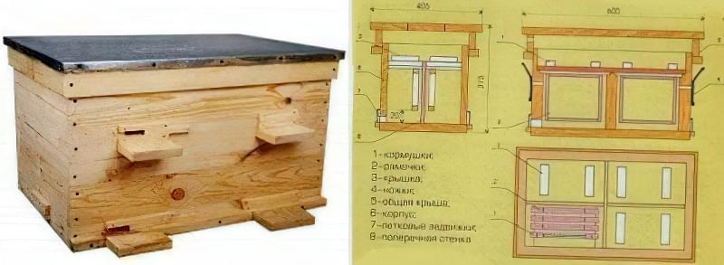 Вулик-лежак для зимівлі 4-х бджолосімей