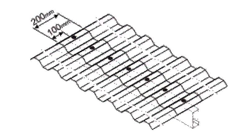 Схема №1 Розмір нахлеста листів уздовж ската навісу