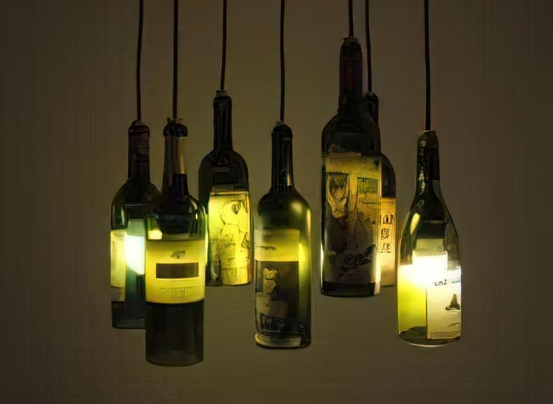 Світильники і лампи з пластикових і скляних пляшок своїми руками 59