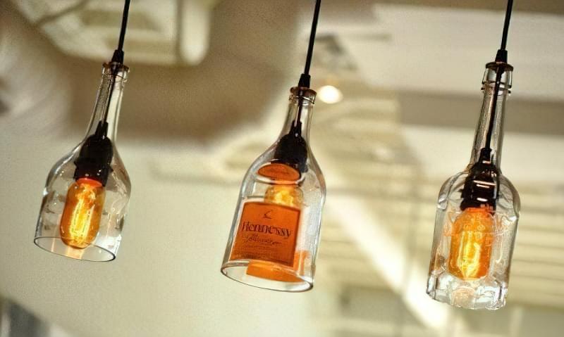 світильники з пляшок