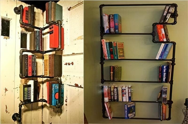 Книжкові полиці з труб
