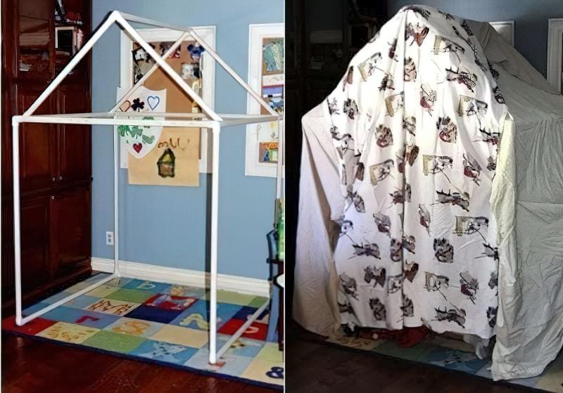 дитячий будиночок з пластикових труб