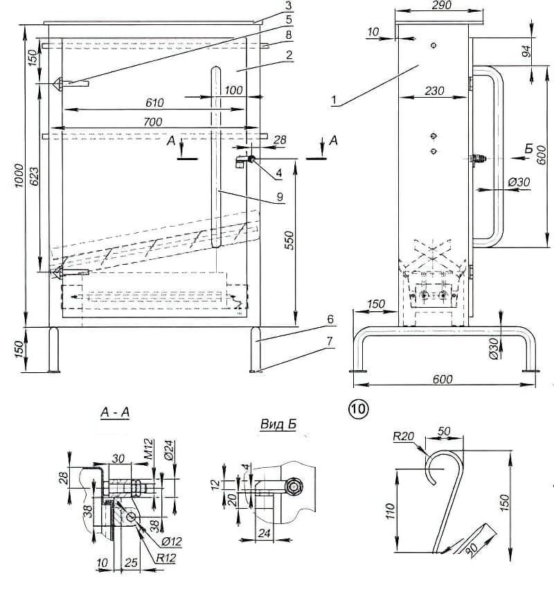 Креслення коптильної шафи
