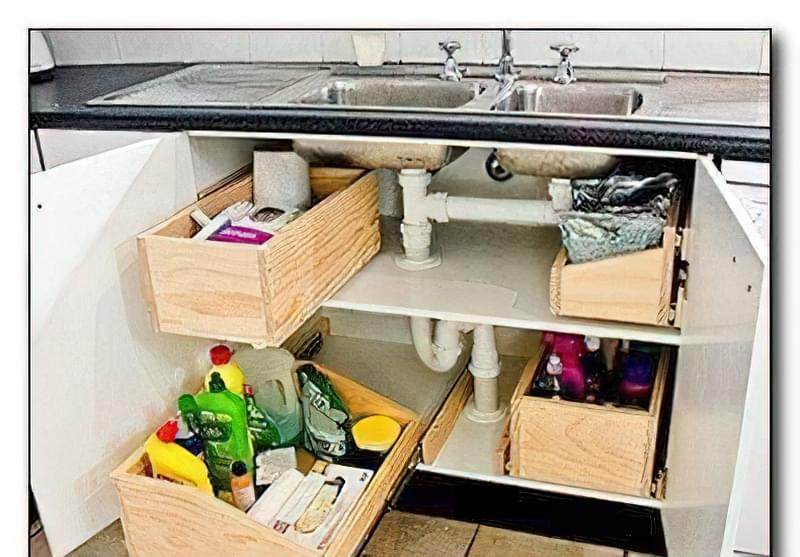 Практичні висувні ящики під мийку на кухню 6