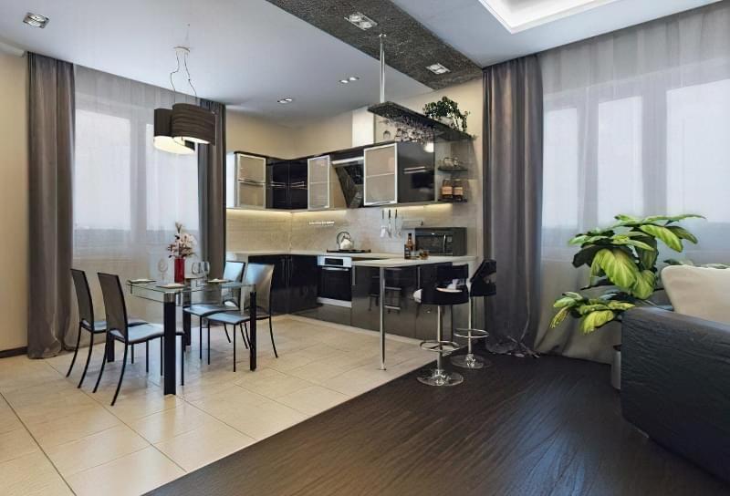 Інтер'єр і планування кухні-вітальні в приватному будинку: популярні дизайнерські рішення 18