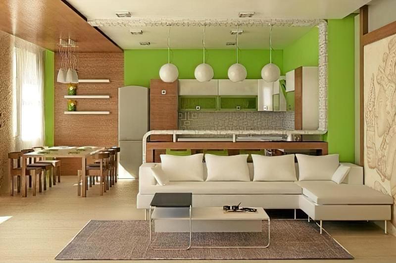 Інтер'єр і планування кухні-вітальні в приватному будинку: популярні дизайнерські рішення 8