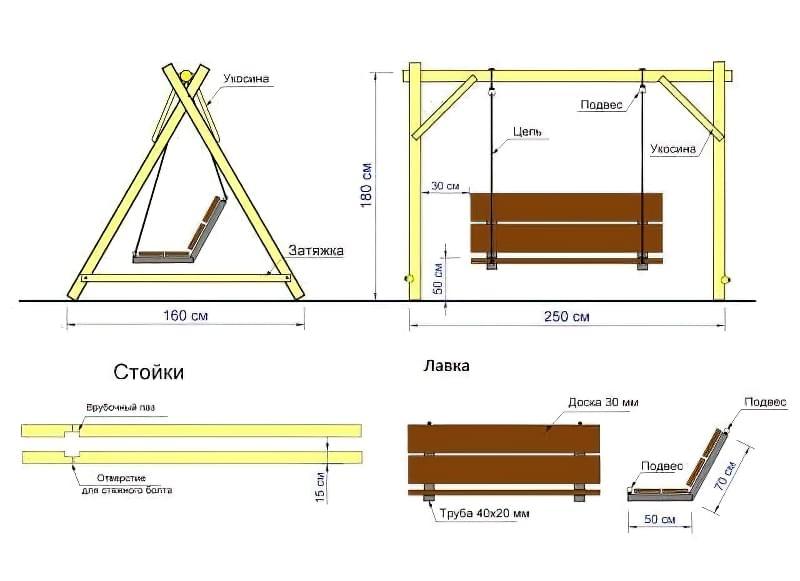 Як зробити садові качелі з дерева: ідеї для натхнення і інструкції по виготовленню 18