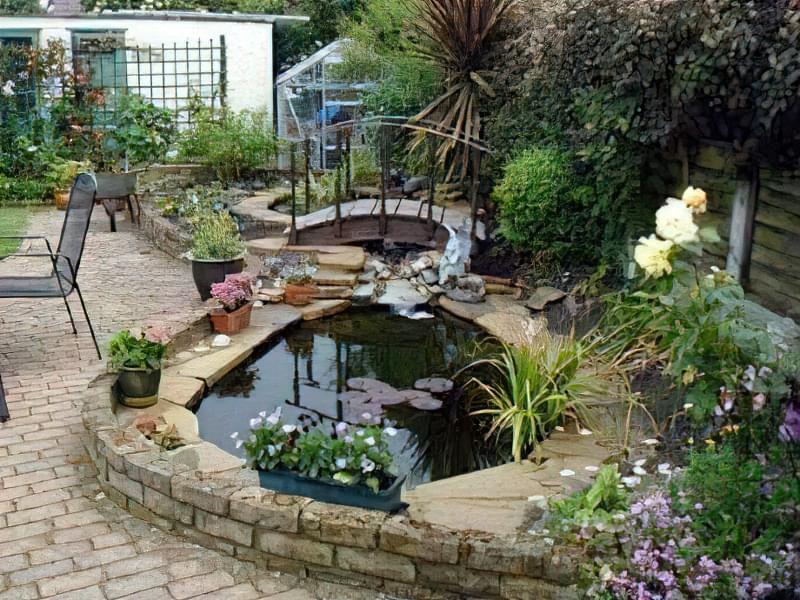 Облаштування ставка в саду 1