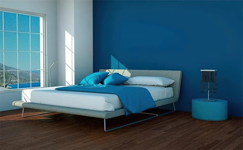 Синій колір в інтер'єрі спальні - відтінки захоплюючі дух 11