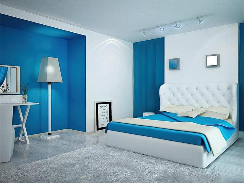 Синій колір в інтер'єрі спальні - відтінки захоплюючі дух 12