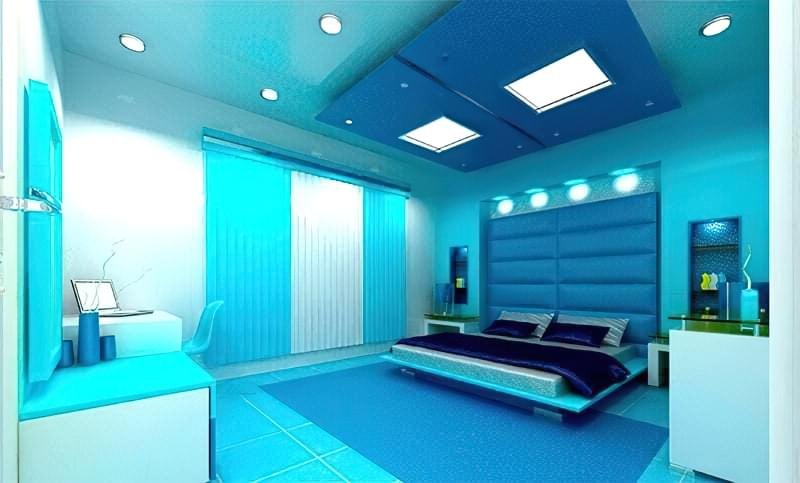 Синій колір в інтер'єрі спальні - відтінки захоплюючі дух 14