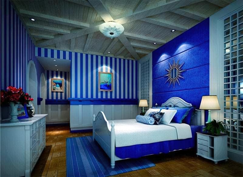 Синій колір в інтер'єрі спальні - відтінки захоплюючі дух 15