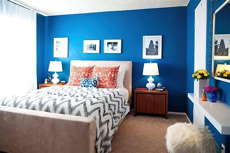 Синій колір в інтер'єрі спальні - відтінки захоплюючі дух 16