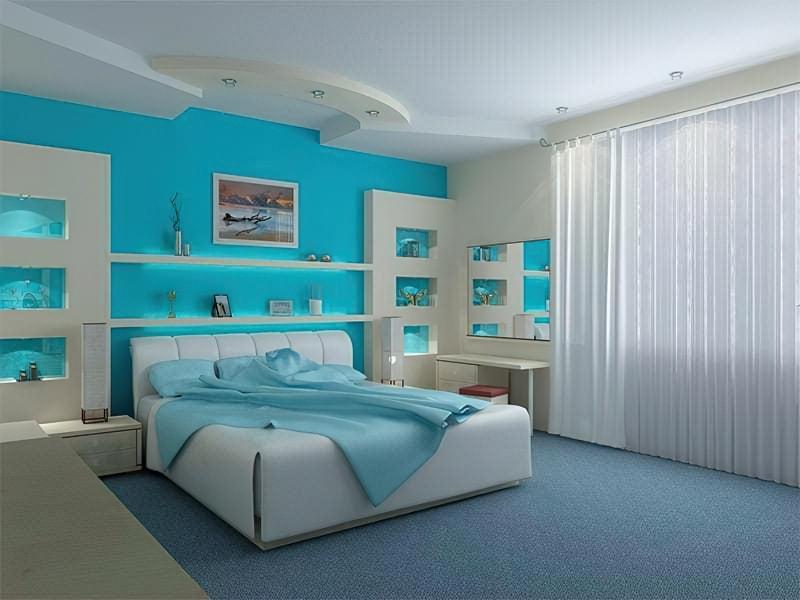 Синій колір в інтер'єрі спальні - відтінки захоплюючі дух 17