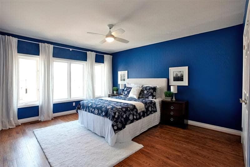 Синій колір в інтер'єрі спальні - відтінки захоплюючі дух 19