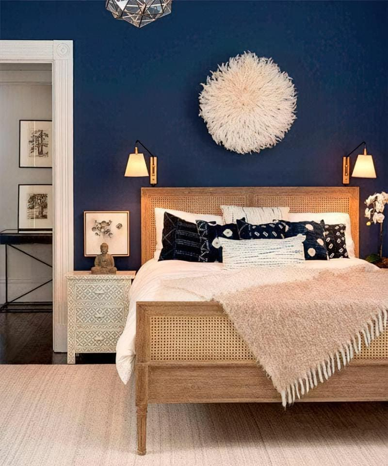 Синій колір в інтер'єрі спальні - відтінки захоплюючі дух 21