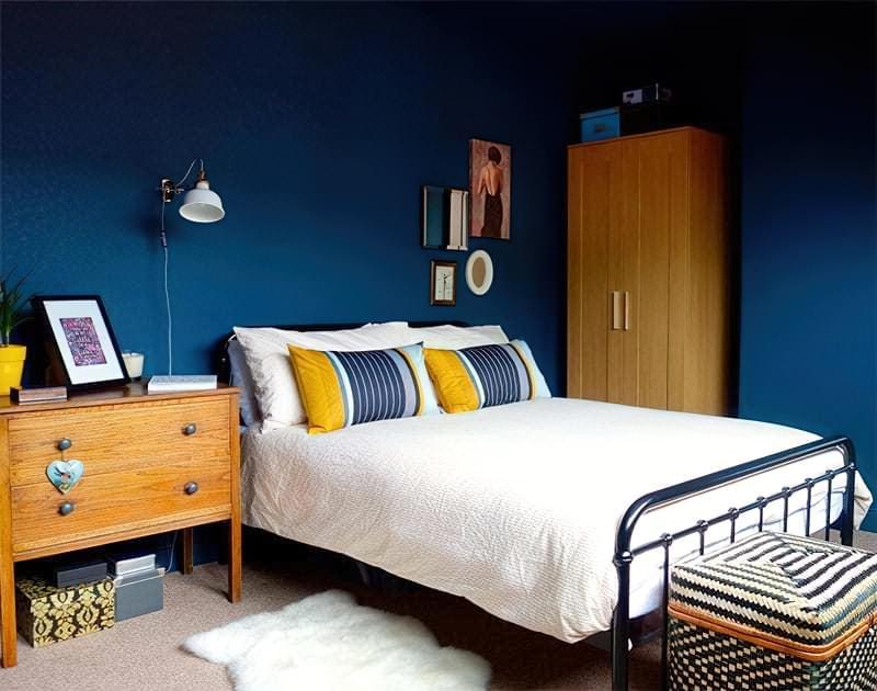 Синій колір в інтер'єрі спальні - відтінки захоплюючі дух 22