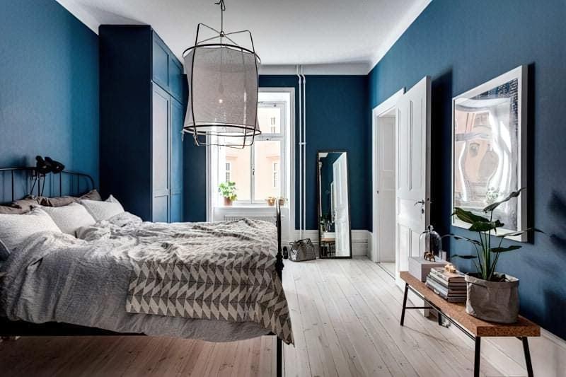 Синій колір в інтер'єрі спальні - відтінки захоплюючі дух 24
