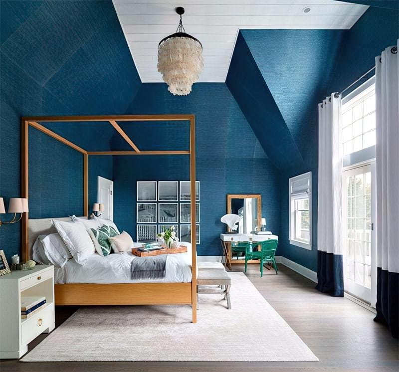 Синій колір в інтер'єрі спальні - відтінки захоплюючі дух 26