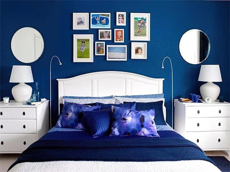 Синій колір в інтер'єрі спальні - відтінки захоплюючі дух 30