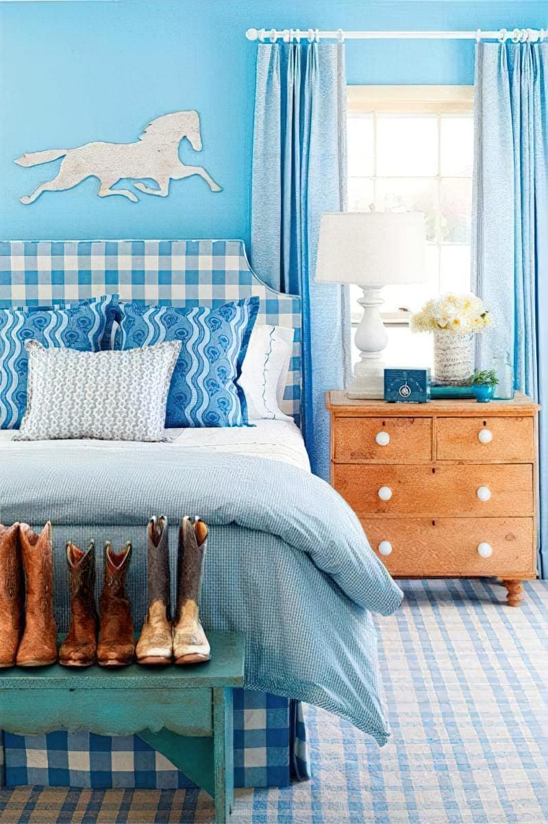 Синій колір в інтер'єрі спальні - відтінки захоплюючі дух 4