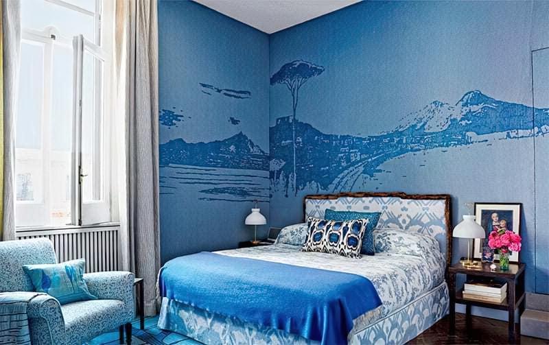 Синій колір в інтер'єрі спальні - відтінки захоплюючі дух 5