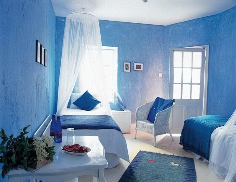 Синій колір в інтер'єрі спальні - відтінки захоплюючі дух 6