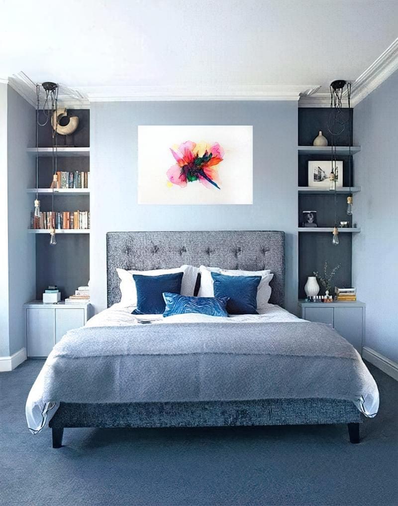 Синій колір в інтер'єрі спальні - відтінки захоплюючі дух 7