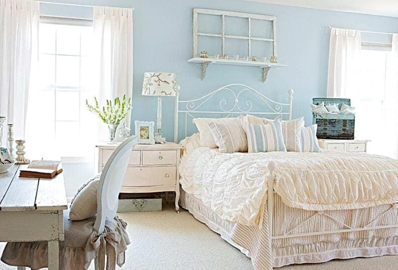 Синій колір в інтер'єрі спальні - відтінки захоплюючі дух 9