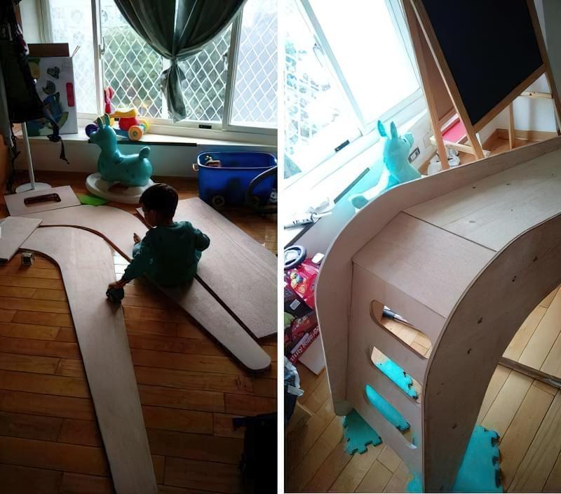 Домашня гірка для дітей своїми руками з дерева 3
