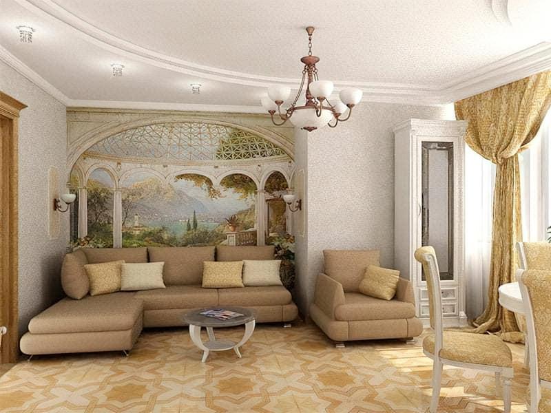 Вид з античної альтанки на грецьке місто добре доповнює декор вітальні