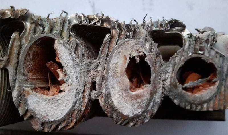 Теплообмінник газового котла забитий вапном