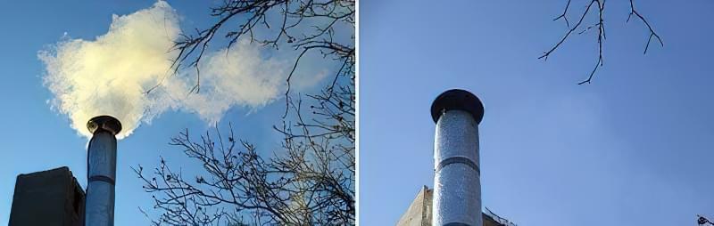 На початковому етапі (зліва) диму багато, потім його практично не видно (праворуч)