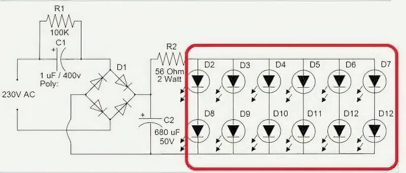 Схема світлодіодної лампи на 220 V