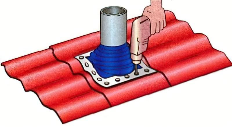 Монтаж витяжки на дах через металочерепицю 3