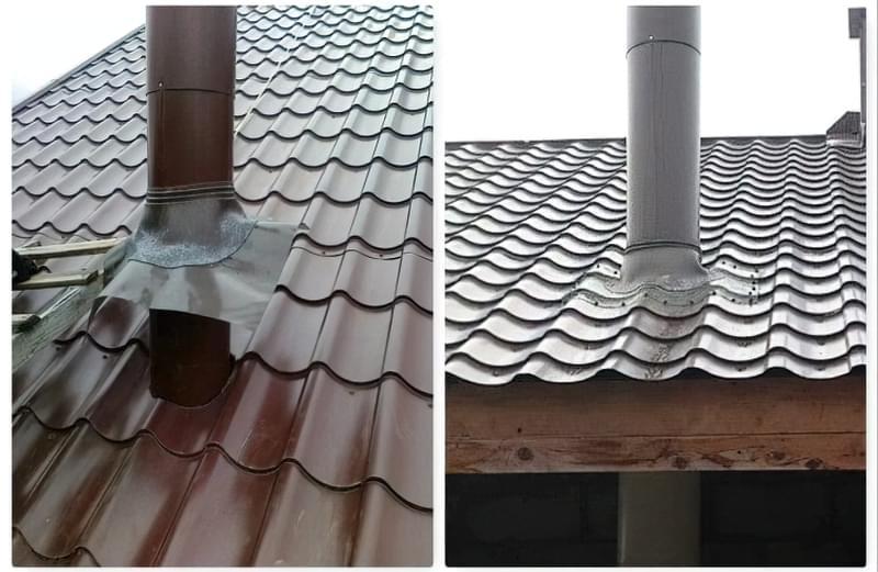Як правильно закрити щілину між дахом і димоходом 1