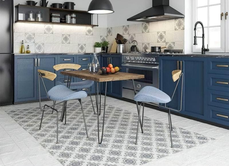 10 прикладів незвичайного підлогового покриття на кухні 10