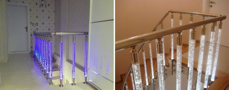 Варіанти підсвічування сходів в будинку 7