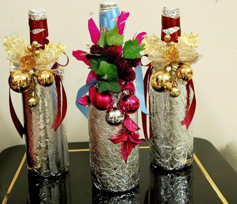 Ідеї як прикрасити пляшку шампанського до Нового року 2