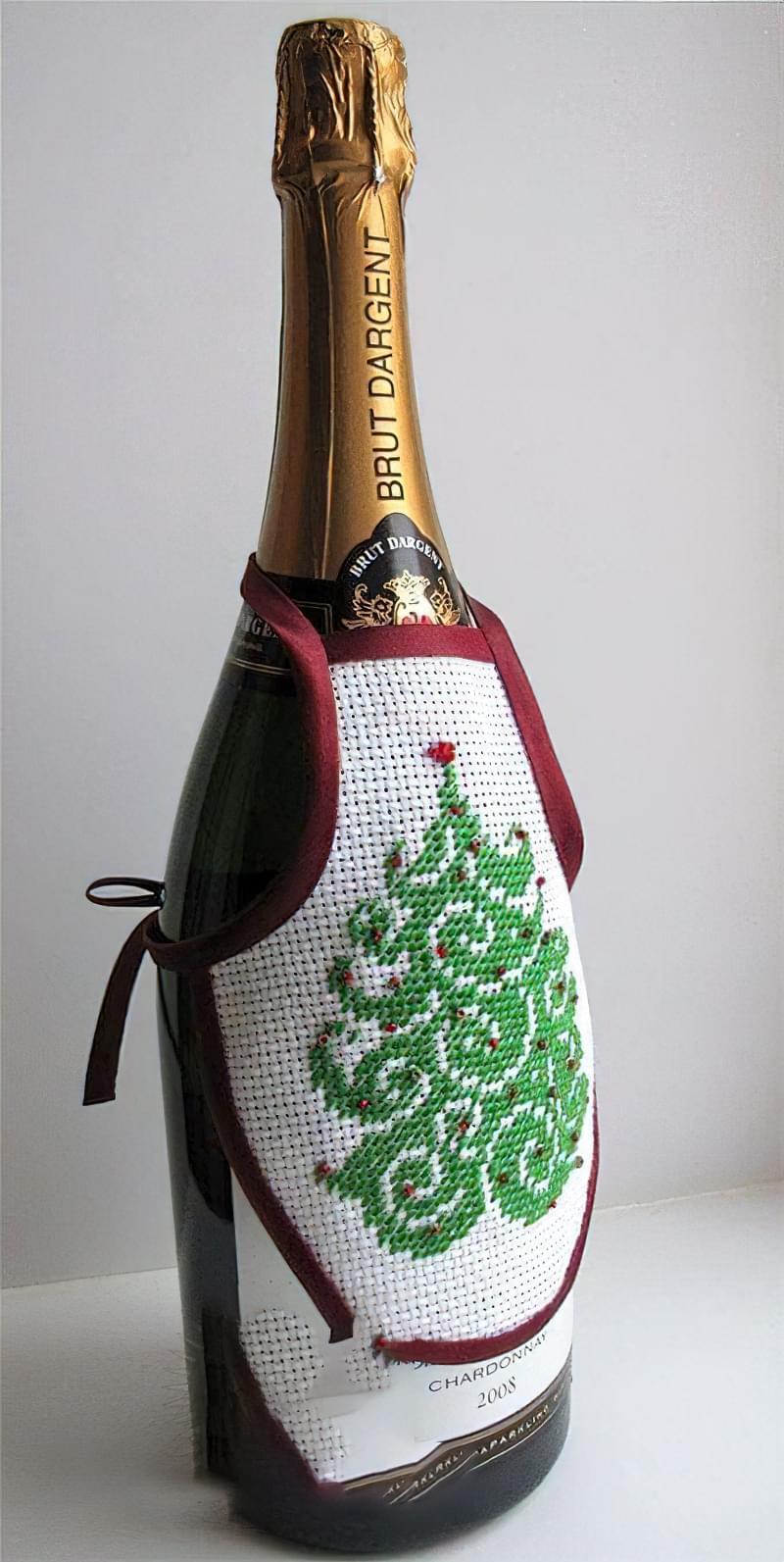 Ідеї як прикрасити пляшку шампанського до Нового року 14