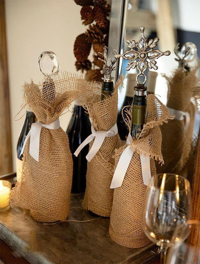 Ідеї як прикрасити пляшку шампанського до Нового року 6