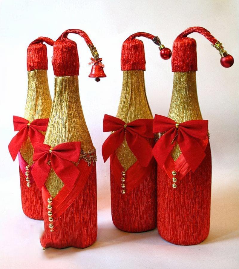 Ідеї як прикрасити пляшку шампанського до Нового року 9